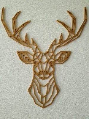 Geometrische houten hert Brons