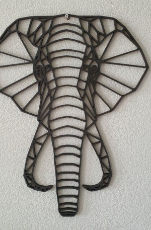 Geometrische Olifant muur hout