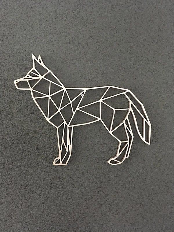 Geometrische wolf van hout