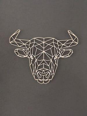 Geometrische houten stier