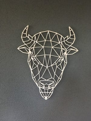 Geometrische bizon van hout