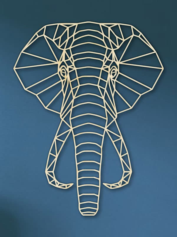 Geometrische Olifant Hout Muur