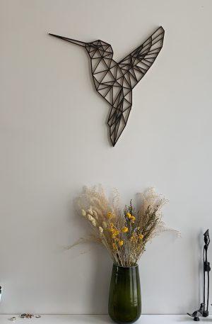 Geometrische Kolibrie Hout Muur