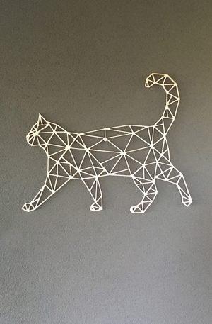 Geometrische Kat Hout Muur