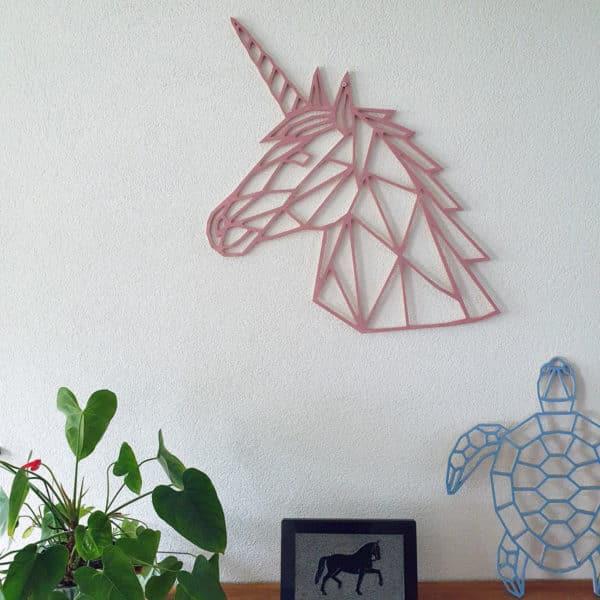 Geometrische Eenhoorn Hout Muur
