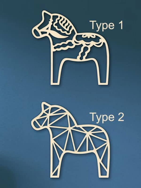 Geometrische houten Dala paarden