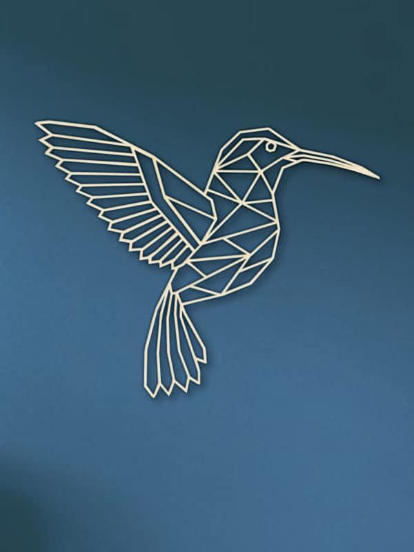 Geometrische houten kolibrie Type 2