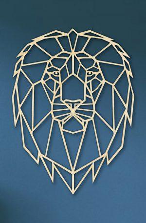 Geometrische Leeuw Hout Muur
