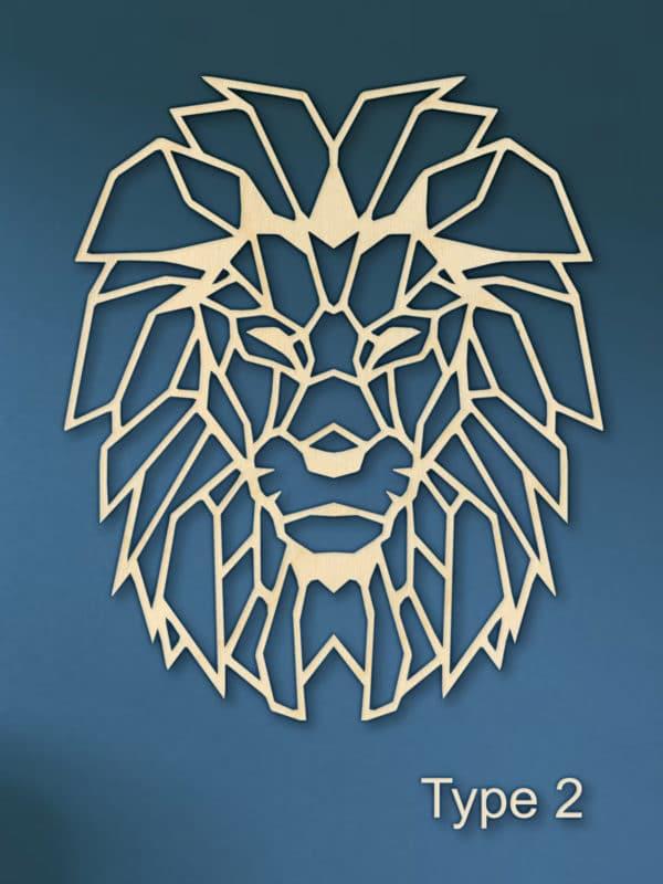 Geometrische leeuw muur hout