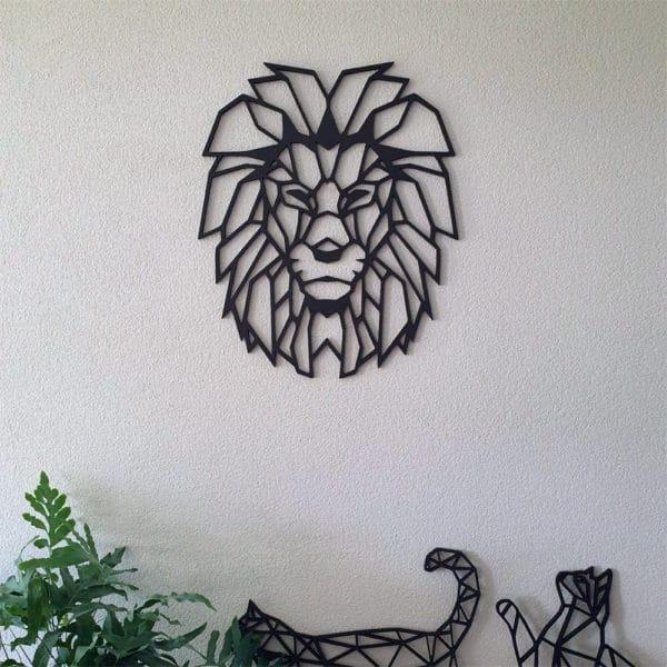 Geometrische leeuw muur