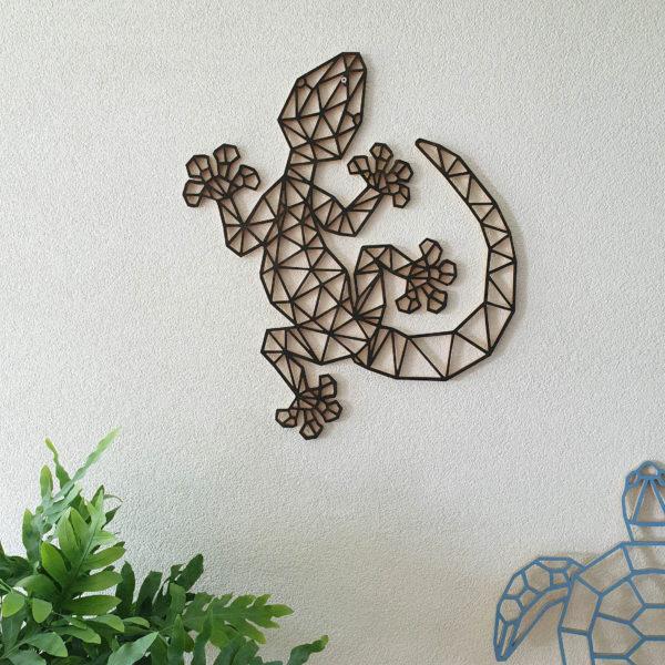 Geometrische Gekko muur hout