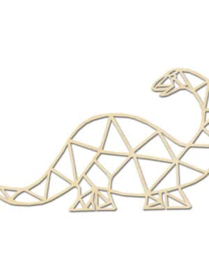 Geometrische Dino Hout Muur Bronto