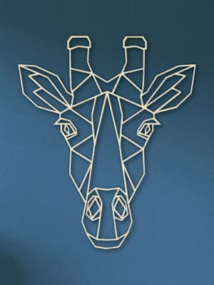 Geometrische Giraf Hout Muur
