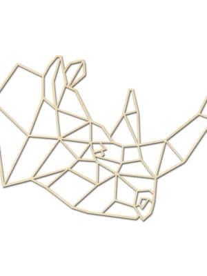 Geometrische Neushoorn Hout Muur