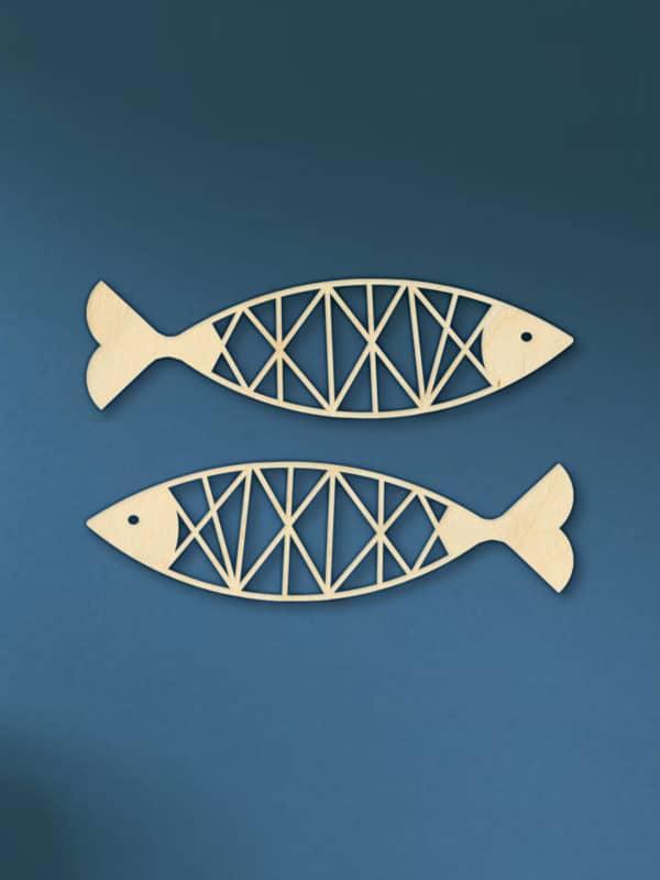 Geometrische Vissen muur hout