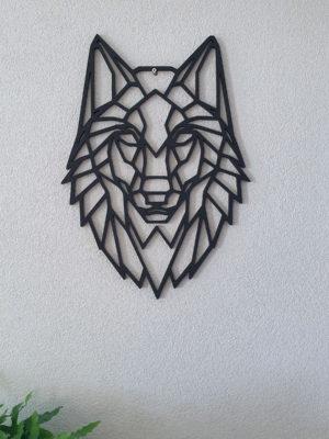 Geometrische Wolf muur hout