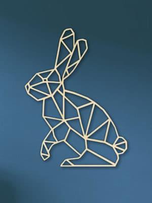 Geometrische konijn muur hout