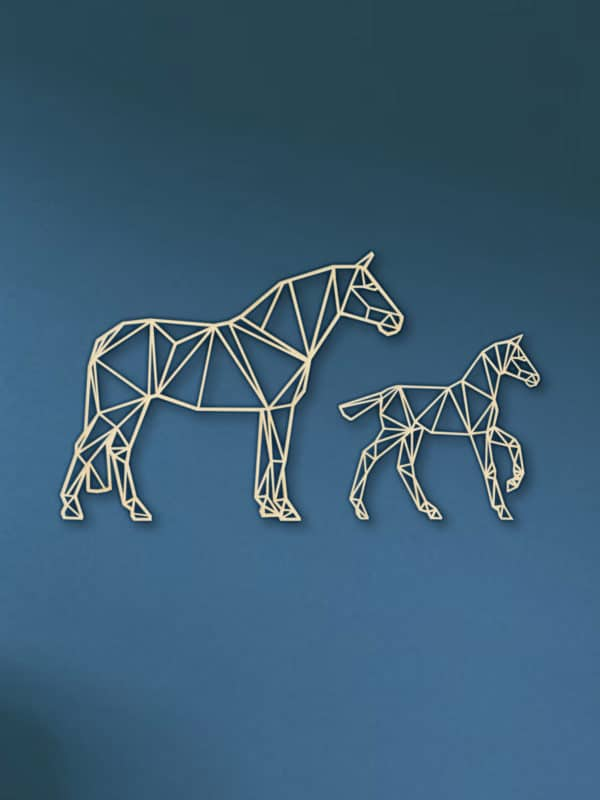 Geometrische paarden veulen hout