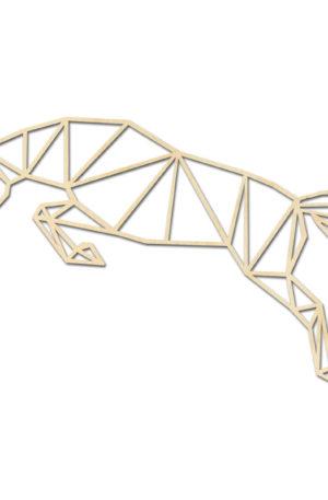 Geometrische paarden springen hout