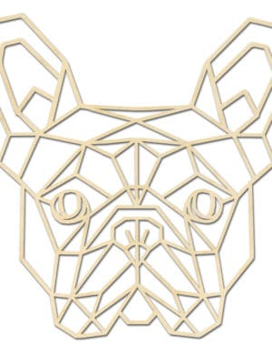 Franse bulldog hoofd hout