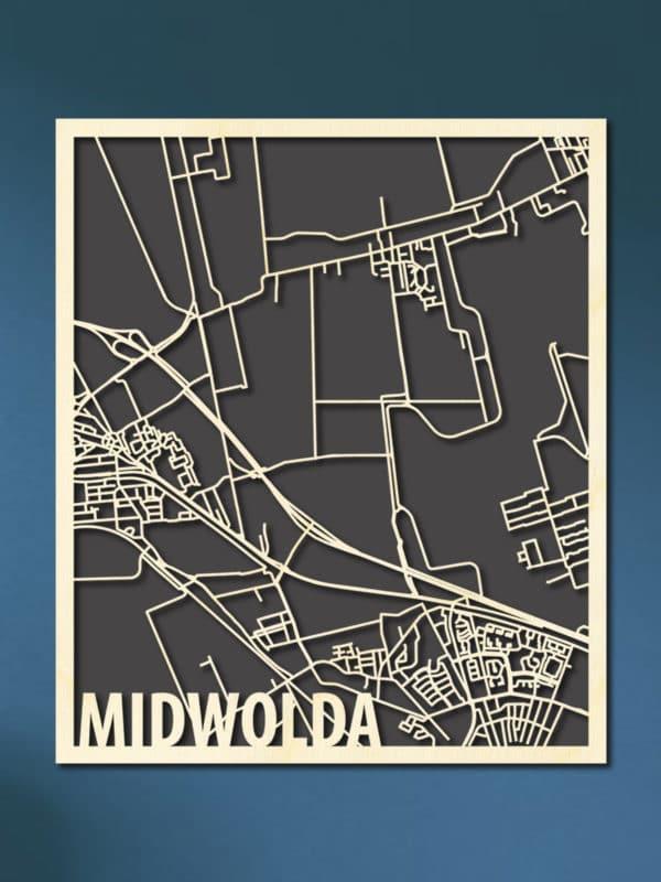 houten CItymap van Midwolda