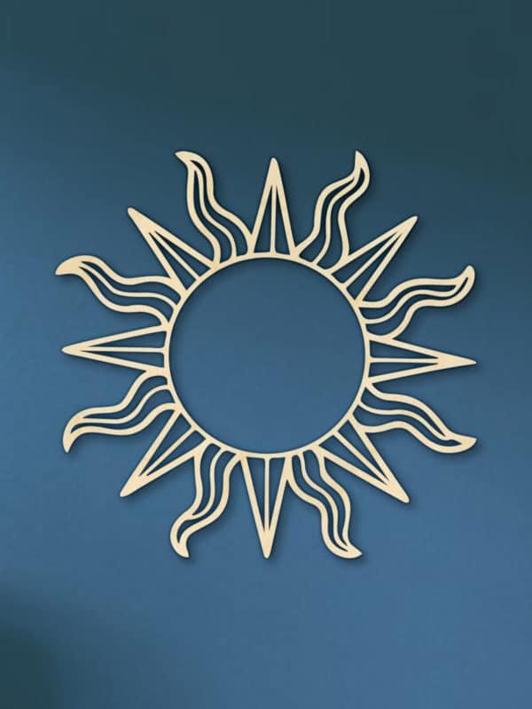 Geometrische houten zon