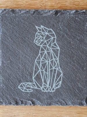 Leisteen kat onderzetter