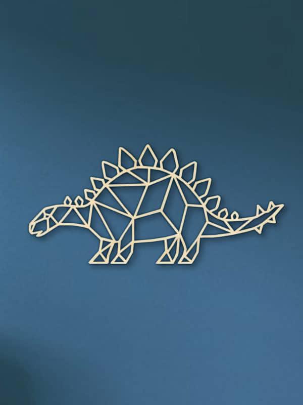 Geometrische Dino Hout Muur Stegosaurus