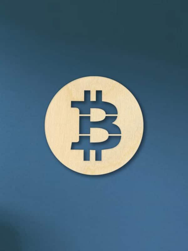 Bitcoin logo van hout